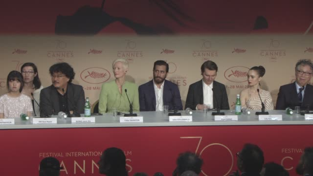 INTERVIEW Bong Joon Ho Tilda Swinton on Jury President Pedro Almodovar's comments about Netflix at the opening press conference at 'Okja' Press...