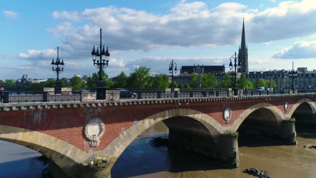 Bordeaux, Aerial view of le pont de pierre