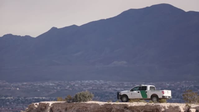 Border Patrol vehicles near the Southern border fence of the United States are pictured in Sunland Park US on Friday Feb 17 2017 Shots two border...