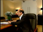 Boris Berezovsky towards into room then along to desk CS Eyes Berezovski Boris Berezovsky interviewed SOT Talks about interview given by Klebnikov in...
