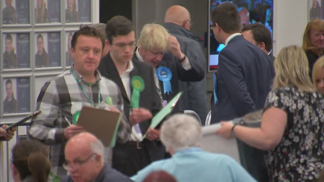 Boris Johnson attends vote counting in his constituency of Uxbridge Shows interior shots Boris Johnson talking with people at vote counting on May 07...