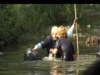 Boris Johnson falls into water during visit to River Pool London 04 June 2009