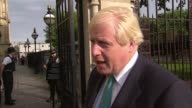 Boris Johnson interview on Hurricane Irma and Rohingyas in Myanmar ENGLAND London Westminster EXT Boris Johnson MP interview re Hurricane Irma and...