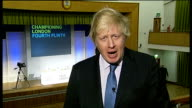 Boris Johnson interview on rail investment and protests in London ENGLAND London GIR / North London Barnet INT Boris Johnson LIVE 2WAY interview SOT...