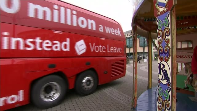 Boris Johnson outlines his vision for Brexit in newspaper article T11051606 / TX Cornwall Truro EXT 'Vote Leave' bus along Brexit supporters with...