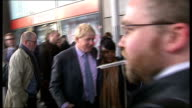 Boris Johnson statement on London Transport fare rises ENGLAND London Finsbury Park EXT Boris Johnson MP arriving at station by bicycle and shaking...