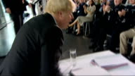 Boris Johnson sworn in as new London mayor ENGLAND London City Hall EXT Sir Ian Blair along to City Hall past press scrum then into building Boris...