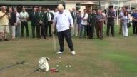 Boris Johnson tries his hand at golf ENGLAND London Uxbridge EXT Boris Johnson on green at Hillingdon Golf Club missing ball then hitting it