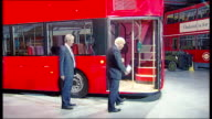 Boris Johnson unveils model of new routemaster bus ENGLAND London Acton Transport Depot PHOTOGRAPHY*** Various GVs of fullsized model of new...