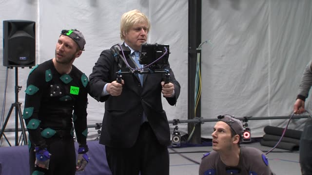 Boris Johnson uses a Motion Capture camera at Boris Johnson announces investment in London's film TV and animation at Ealing Film Studios on April 04...