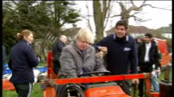Boris Johnson visits Harrow Town Cricket Club as part of renovation scheme ENGLAND London Harrow Harrow Town Cricket Club EXT Boris Johnson sitting...