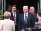 Boris Yeltsin former Russian President walks from Heathrow VIP suite to car after arriving in London on a private visit
