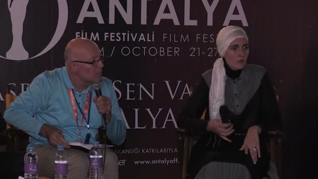 Bosnian Director Aida Begic answers the questions of movie fans after the screening of his movie 'Never Leave Me' during a gathering organized within...