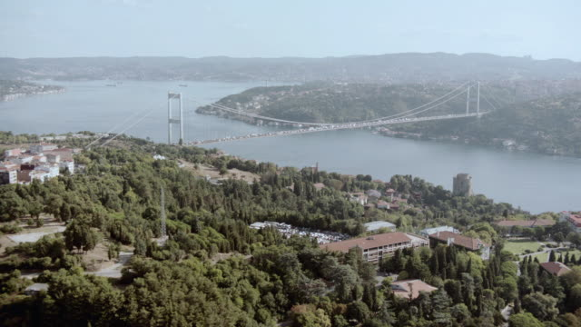 AERIAL Bosphorous suspension bridge spanning the Bosphorous strait / Istanbul, Turkey