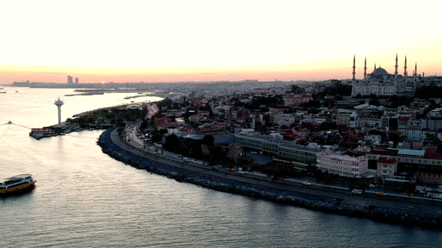 Bosphorus and Blue Mosque in Early Morning, Istanbul, Turkey