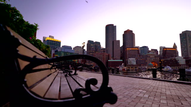 Boston business downtown från fläkt Pier Park