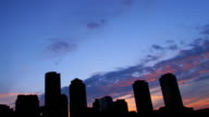 Boston Harbor Skyline Sunset Time Lapse color full clouds HD1080p24fps