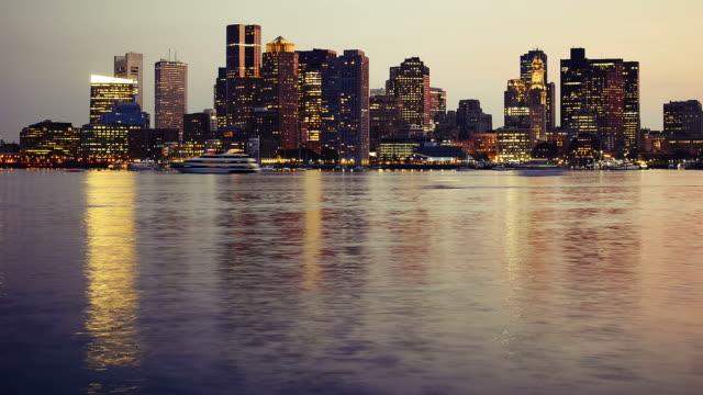 Boston skyline from sunset to night