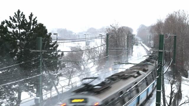 Boston Subway Train in a Snowstorm