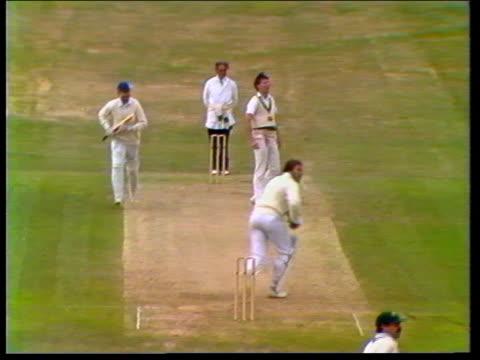 Botham England selection 1981 Leeds TBV Botham batting and hits boundary Headingley TBV Botham runs along and raises bat TX TMS Crowd ITN TMS Botham...