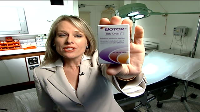 report suggestions addiction INT Reporter to camera as holding Botox box Botox box held