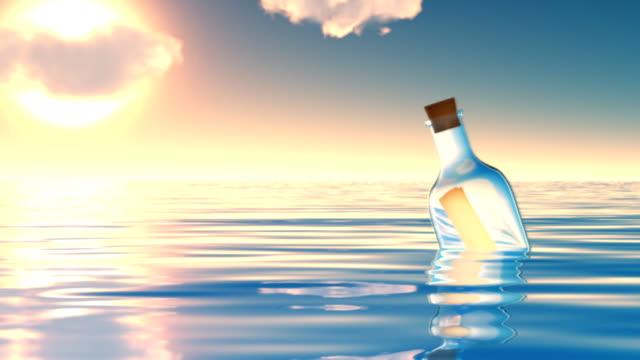Bottle in ocean.