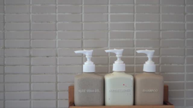 Bottle lotion in bathroom