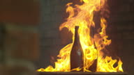 bottles on fire