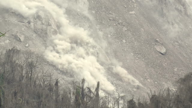 Boulders Crash Down Flank Of Volcano Lava Dome