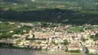 AERIAL, Bourg on banks of Dordogne river, Aquitaine, France