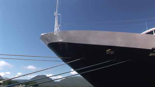 CU, Bow of cruise ship in port, Ketchikan, Alaska, USA