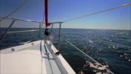 CU, Bow of sailboat traveling through Tampa Bay, Florida, USA