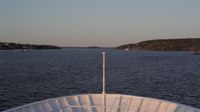 WS Bow of ship sailing through archipelago / Stockholm, Sweden