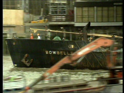 'Bowbelle' Captain cleared London River Thames MS Dredger Bowbelle along Thames under bridge Bowbelle RL ITN TX 1989 MS SIDE wreckage of the...