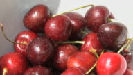 Bowl of cherry's on garden table