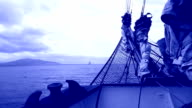 bowsprit of a sailing ship in the night