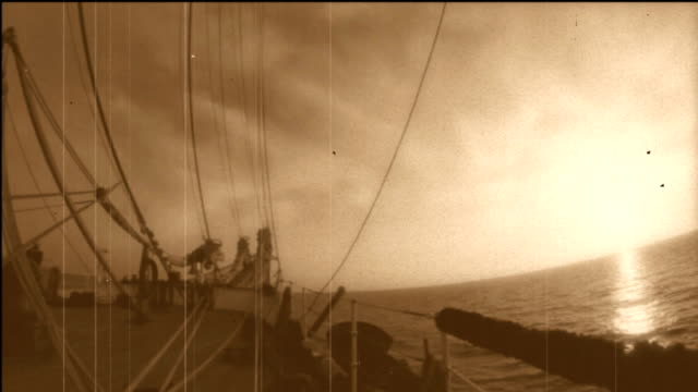 bowsprit of a sailing ship - stylized old movie