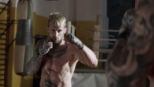 Boxer training. Shadowboxing.
