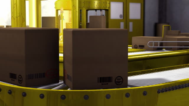MS ZO PAN Boxes of manufactured goods are sorted and routed on conveyor line with laser sensors/ USA