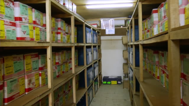MS PAN Boxes on shelves in doctors without borders storage room / Juba, Central Equatoria, Sudan