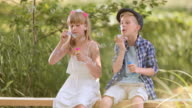 SLO MO TU Boy and a girl on a footbridge blowing bubbles