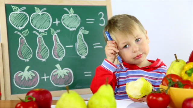 boy and fruit math