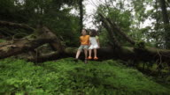 Boy and girl sitting on a fallen tree in a forest, Malshej Ghat, Maharashtra, India