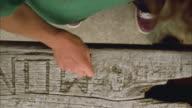 OH CU Boy carving his name into wood / Cazenovia, New York, USA