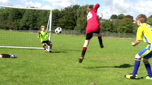 Boy dribbling & scoring goal in Kid's Soccer / Football