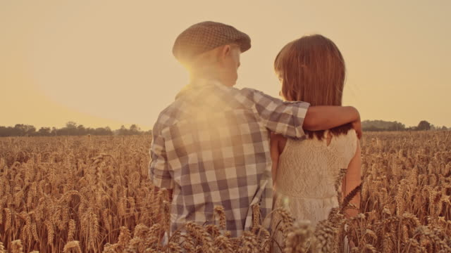 Boy embracing girl in the wheat field