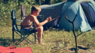 Boy on camping