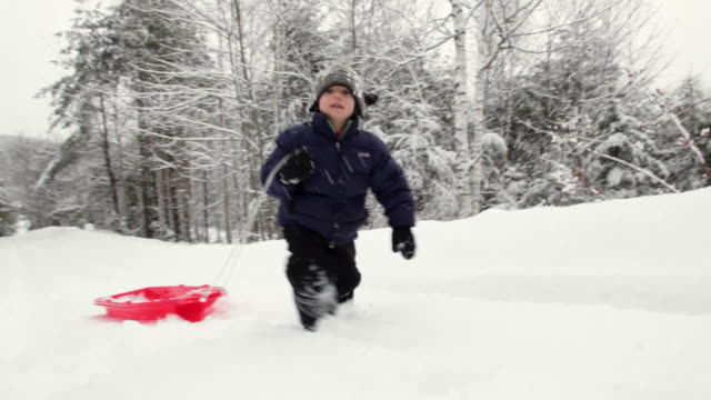 MS PAN Boy (4-5) pulling sled up snowy hill / Franconia, New Hampshire, USA