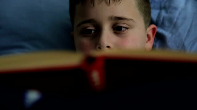 Boy Reading A Book Instead Of Sleeping In Bed