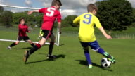 Boy scoring two goals in Kid's Soccer / Football match